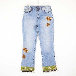 DG2 Diane Gilman Stretch Denim Sequinned Jeans